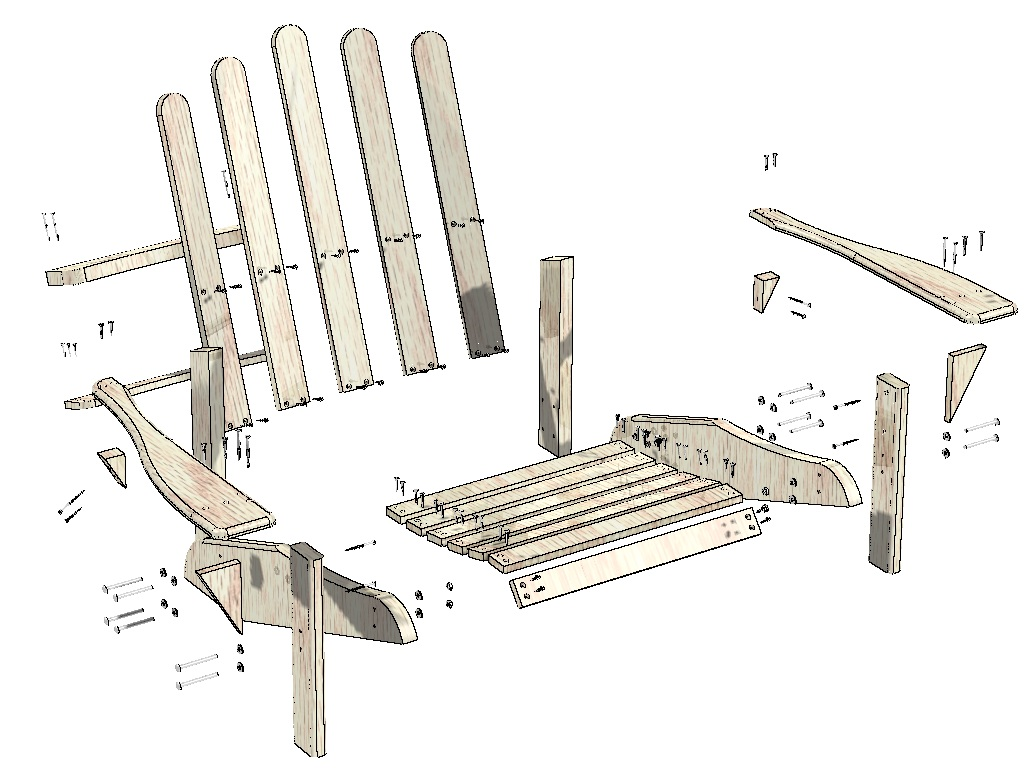 Pin free adirondack chair plans woodwork city on pinterest - Patterns for adirondack chairs ...