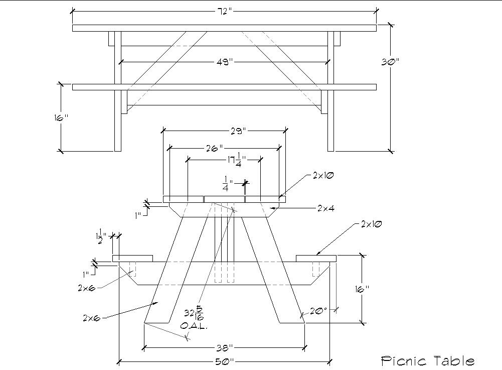 Picnic Table Dimensions